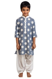 Polka dot kurta with patiala