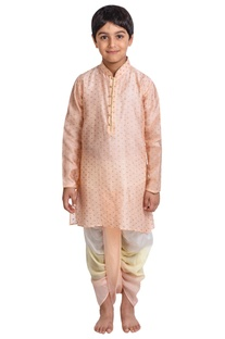Gold foil print kurta set