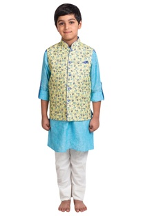 Linen kurta with printed nehru jacket and pants