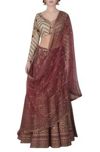 Foil print lehenga & embroidered blouse set