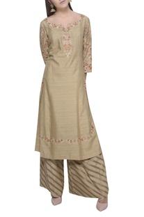 Striped palazzo & embroidered kurta set