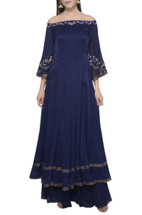 Embroidered anarkali kurta with flared pants and dupatta