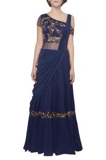 Flower embroidered pleated draped sari