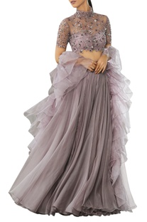 Embellished lehenga with ruffle dupatta in Nude color