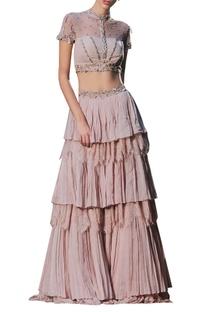 Embellished blouse set with tier lehenga skirt
