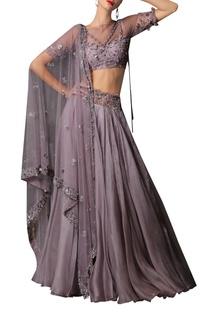 Embellished blouse, dupatta & lehenga set