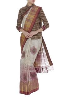Checkered shirt & pant with printed sari