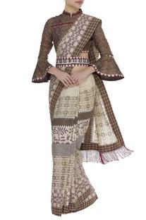 Printed sari with checkered blouse & belt