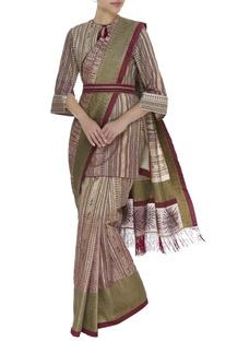 Printed sari with long blouse, belt & petticoat