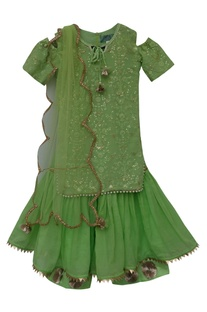 Embroidered kurta with dupatta & sharara