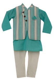 Stripe print nehru jacket with kurta & churidar