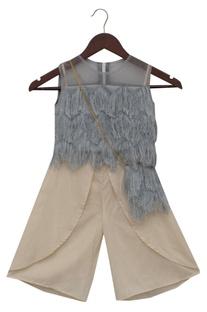 Fringe top with palazzo pants