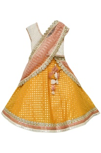 White choli with yellow lehenga and dupatta