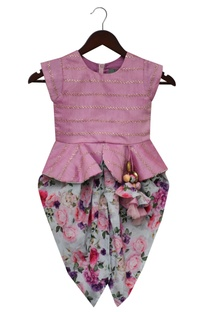 Peplum top with dhoti pants