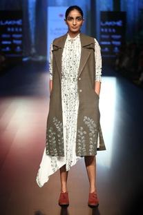 Thread work embroidered asymmetric shirt dress
