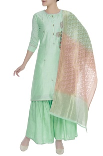 Embroidered kurta with palazzo pants & dupatta
