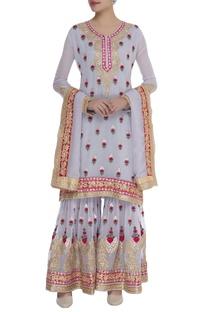 Resham embroidered kurta sharara set