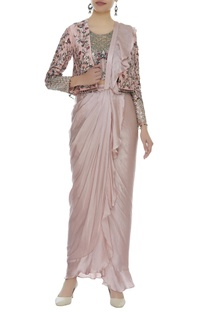 Ruffled pre draped saree with embroidered jacket
