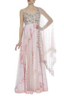 Rose printed anarkali with embroidered dupatta