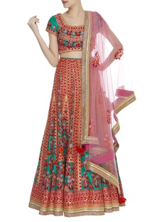 Applique & thread embroidered lehenga set