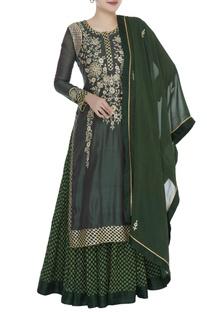 Chanderi brocade gota embroidered kurta set