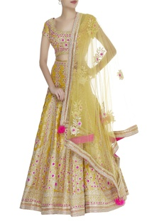 Gota thread embroidered jacquard lehenga set