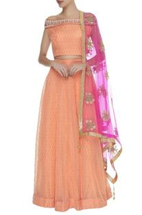 Embellished lehenga with off shoulder blouse & dupatta