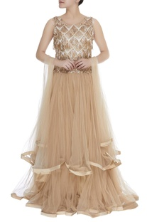 Sequin embroidered layered anarkali gown