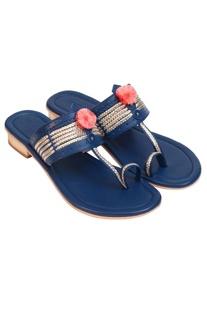 Pom-pom embellished box heel sandals