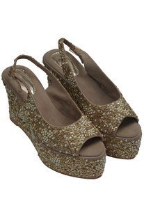 Shimmer peep toe wedge