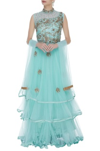 Embellished gown with dupatta