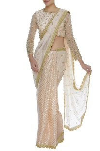 Sequins Embroidered Saree With Blouse