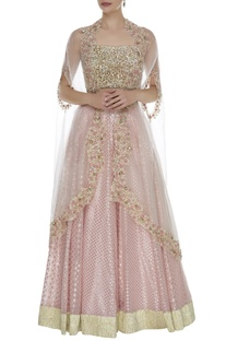 Embroidered Cape With Sequins Blouse & Lehenga