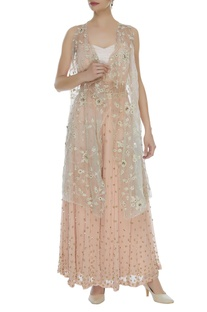 Embroidered jacket with inner & flared Palazzo Set