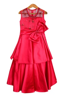 Layered embroidered gown with big bow