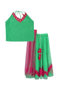 Halter blouse with frilly skirt & dupatta