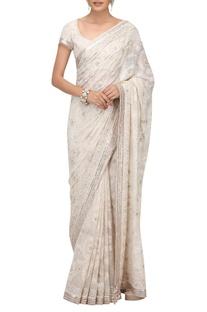 Zardozi embroidered sari with blouse & petticoat