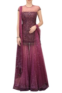 Crystal & sequin embellished lazer cut kurta sharara set