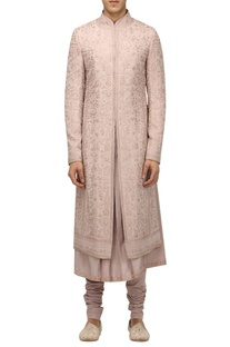 Floral artwork sherwani with kurta & churidar