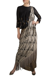 Embroidered peplum blouse with brocade work draped sari