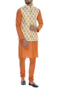 Block printed nehru jacket with kurta & pyjama