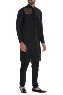 Pleated embroidered nehru jacket with kurta & pyjama