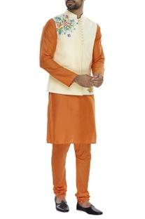 Floral printed nehru jacket with kurta and pyjama