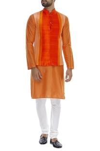 Vertical paneled nehru jacket with kurta & pyjama