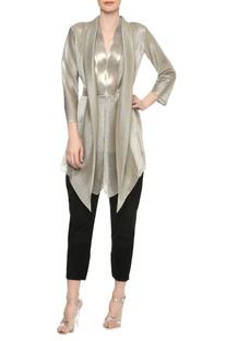 V-neck jacket top with shawl collar drape