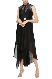 Asymmetric dress with belt