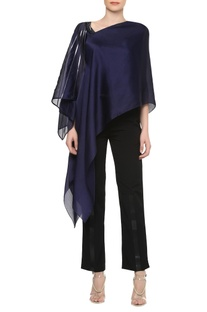 Asymmetrical neckline top with handkerchief hem sleeve