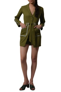 Long blazer with high waist shorts