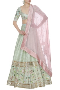 Floral embroidered lehenga set with sequin embellished dupatta