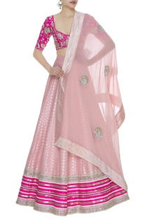 Embroidered lehenga set with booti work dupatta